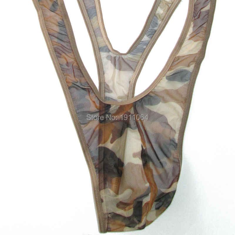 人気ボラットmankini水着メンズtバック深いvネックg5980 c-スルーメッシュカモを印刷