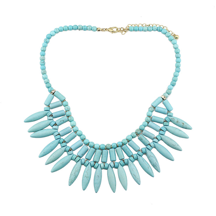 SHIYING Fashion exaggeration trend explosion pine blue stone fashion short necklace necklace beads necklace