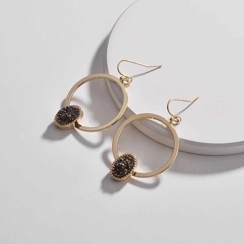 Faux Copper Circle Oval Druzy Quartz Drop Earrings 5
