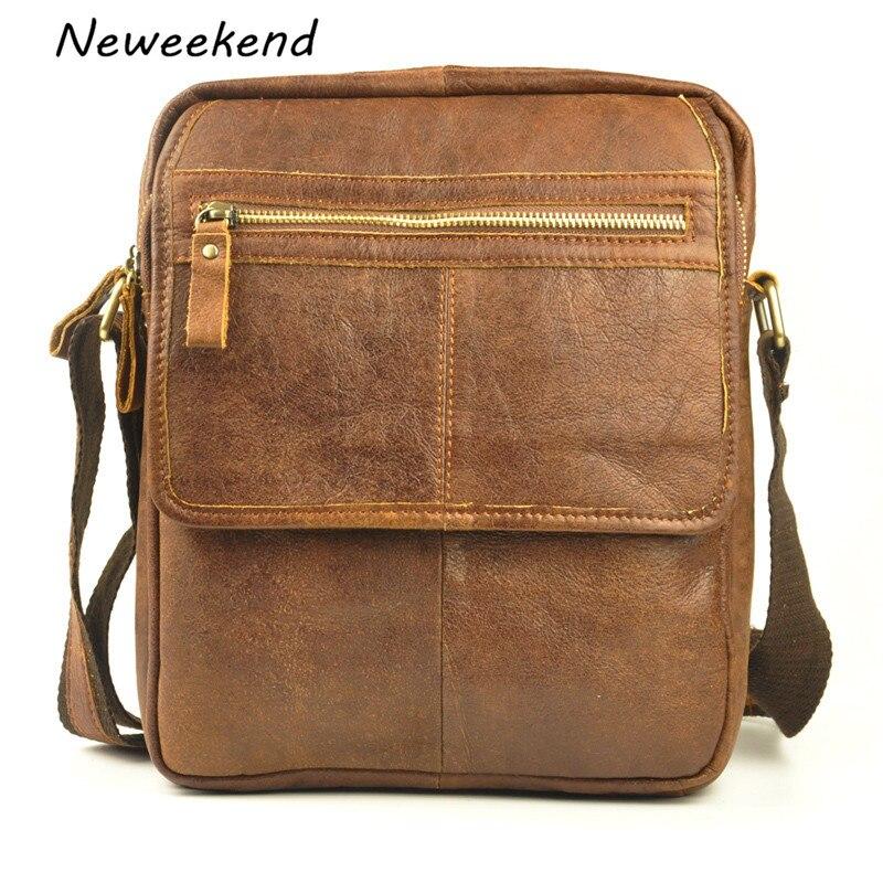 ФОТО NEWEEKEND Retro Casual Genuine Leather Cowhide Scrub Small Shoulder Crossbody iPad Bag for Man