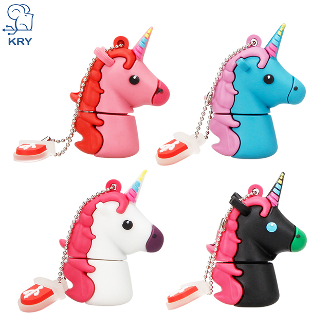 New Style Cartoon Unicorn Pen Drive 64gb 32gb usb flash drive 128gb cute horse pendrive real capacity 4gb 8gb 16gb memory stick