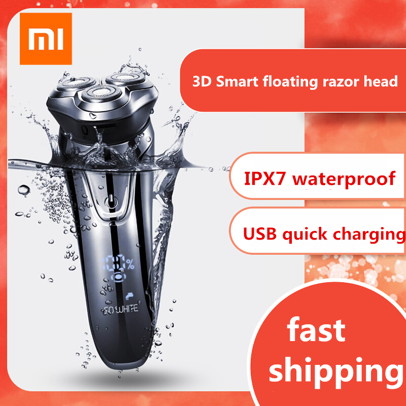 XIAOMI Youpin SO WHITE ES3 Electric Razor Shaver Wireless 3D Smart Floating IPX7 Waterproof USB Charging Shaving Machine For Men