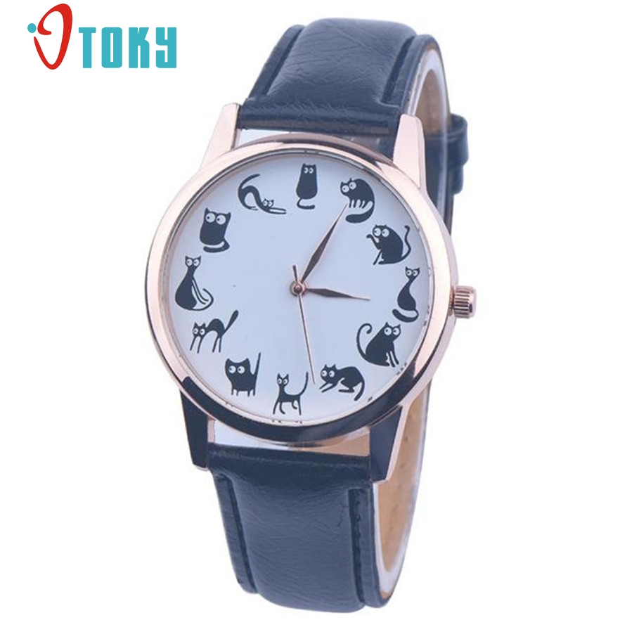 цены  OTOKY wrist watch for women ladies Lovely Cute cat pattern analog quartz-watch montre femme clock female Gift 1pc
