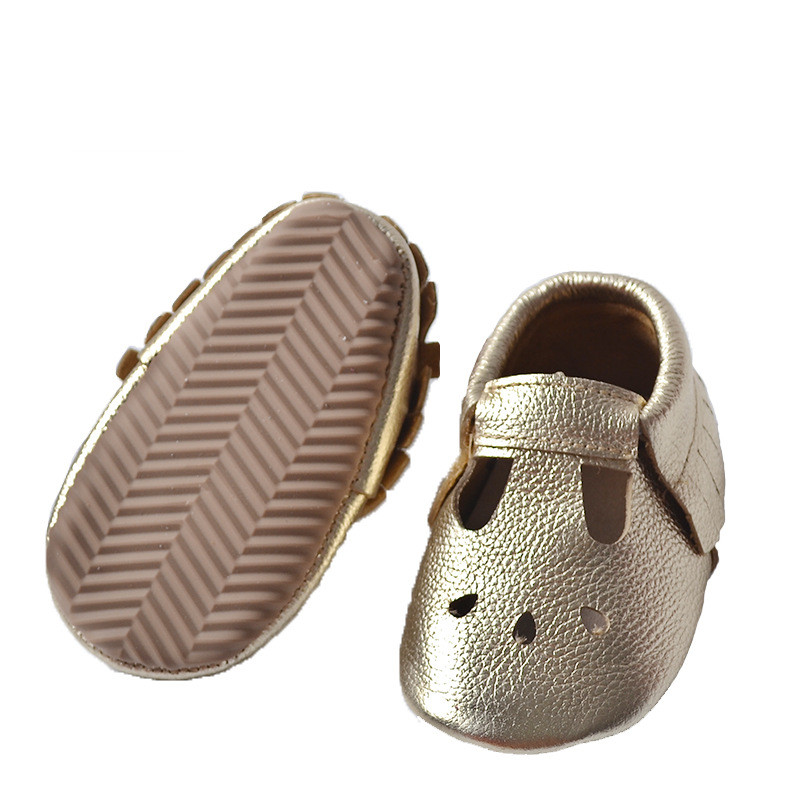 25 pairs Autumn Soft Rubber Sole Baby Shoes Gold Fringe Genuine Leather Hollow Water Drops Design Baby Moccasins First Walkers