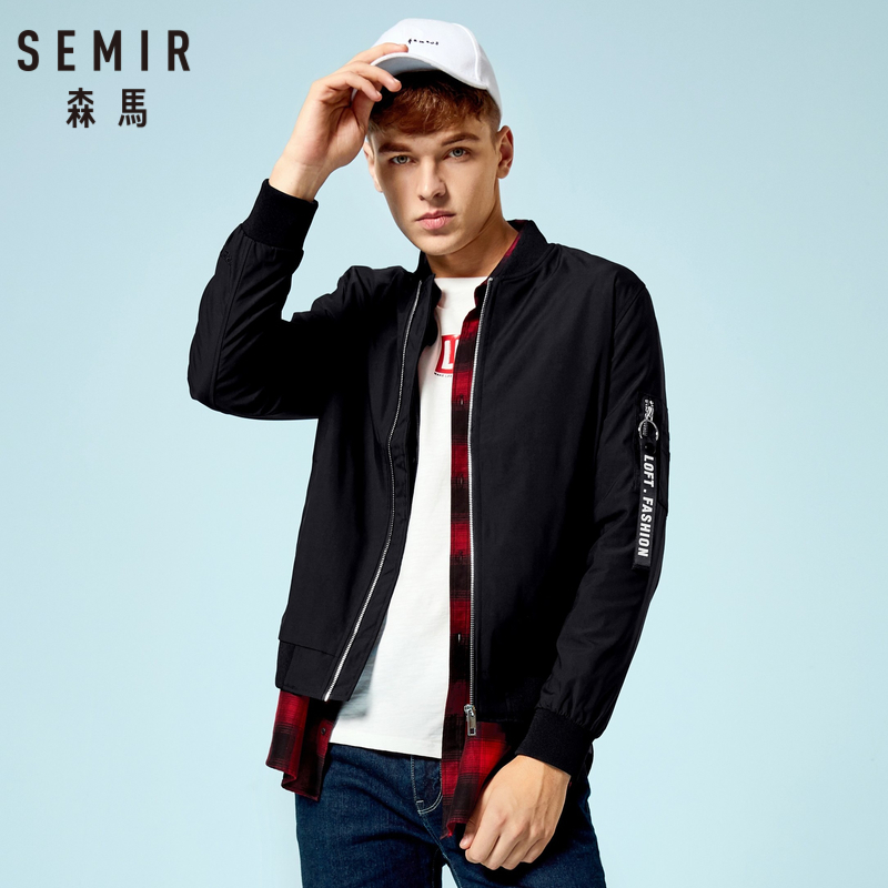 SEMIR Men Baseball Jacket with Tab Sleeve Man Zip Bomber Jacket with Pocket Ribbing at Cuff and Hem Streetwear for Autumn in Jackets from Men 39 s Clothing