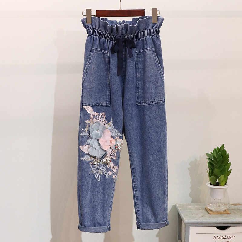 2019 весна осень женский комплект с блестками вышивка цветок вязаный свитер джинсы брюки костюм длинный рукав трикотажные топы джинсовые брюки 2 шт