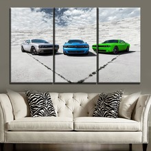 Vehicle SRT Picture Modern Artwork Home Decorative Wall One Set 3 Piece Canvas Print Landscape Sky And Dodge Challenger Painting
