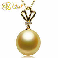 ZHIXI Pearl jewelry Pearl Necklace Pendant 18K Yellow Gold Southsea pearls pendants Round Au750 pearl pendants 10 11mm G08