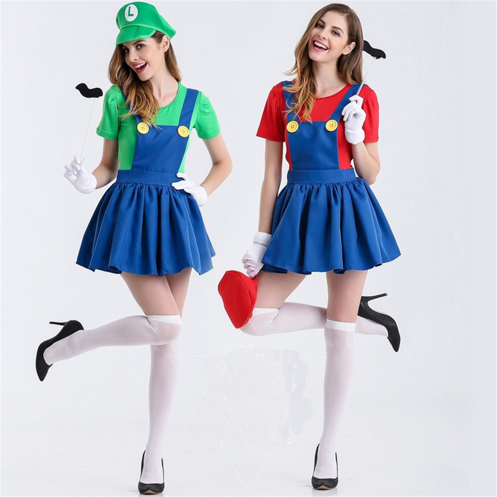 Halloween Super Mario Costume Disfraces Adultos Carnival Costume Adults Women Anime Cosplay Costumes Super Mario Bros dress
