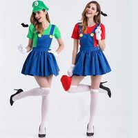 Halloween Super Mario vestido de disfraces Adultos traje de Carnaval para Adultos mujeres Anime Cosplay disfraces Super Mario Bros vestido