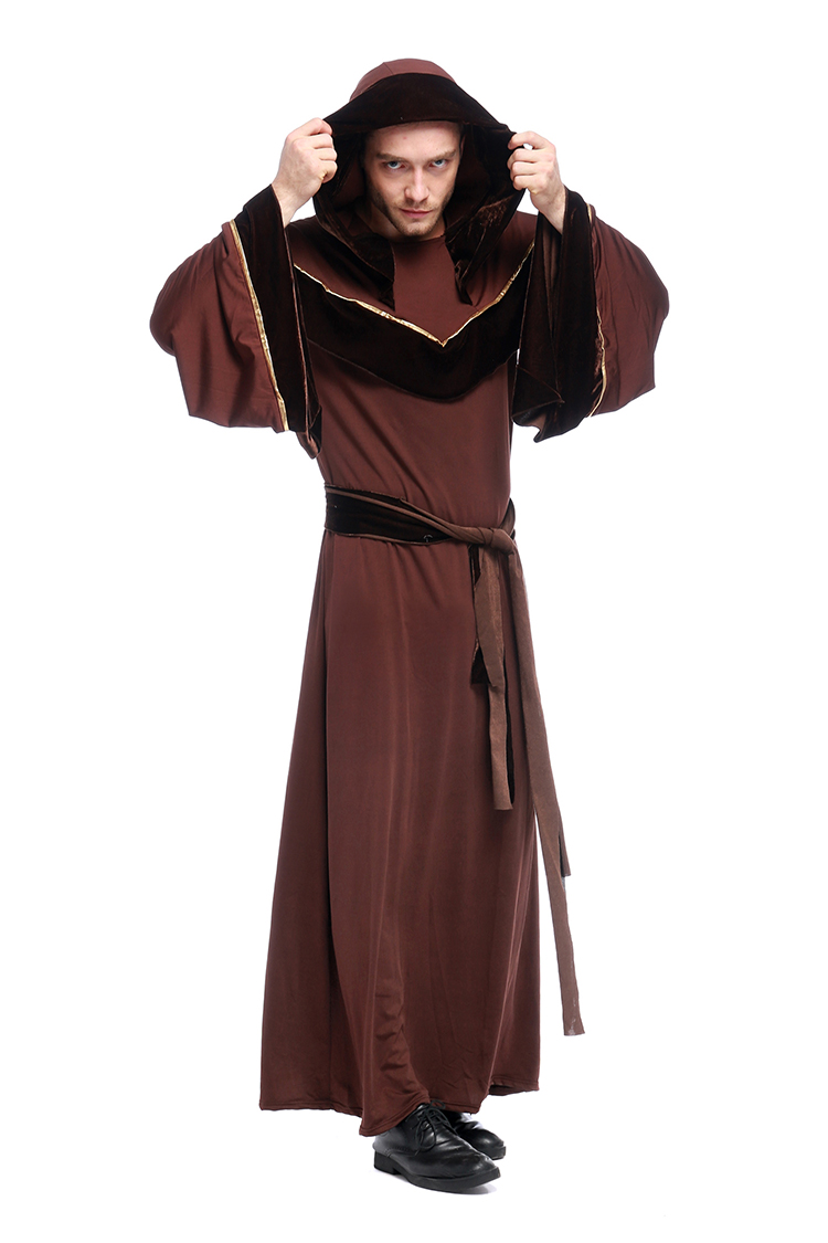 Halloween Costumes Adult Mens Gothic Wizard Costume European Religious Men Priest Uniform Fancy Cosplay Costume For Men