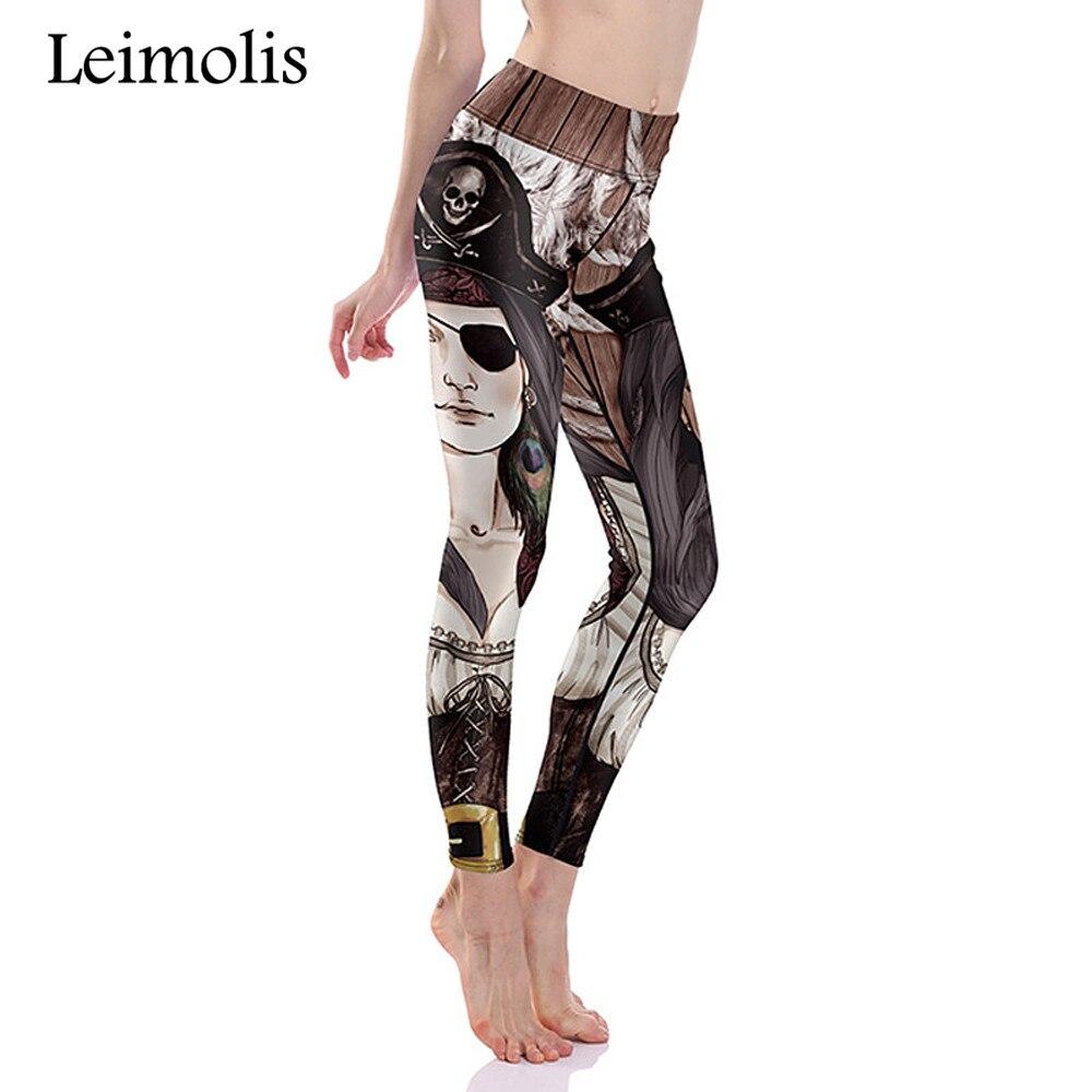 Leimolis הדפסת 3D פיראטים ילדה החורף חם Harajuku פאנק גבוה מותן אימון כושר נשים לדחוף את תוספת גודל מכנסיים