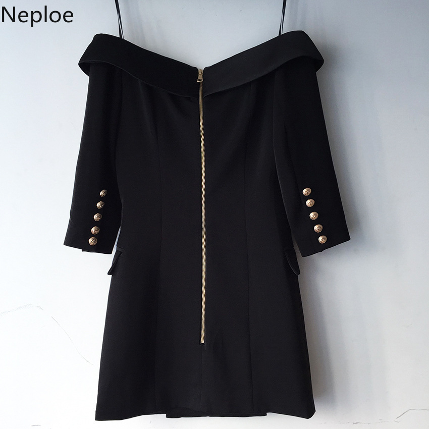 Nepole Cerniera Abbottonatura Slash Neck Grazia Vestito Doppio Petto Button Cool Girl Vestido 2020 Primavera Estate Tasca Modis Jupe 42729 - 3