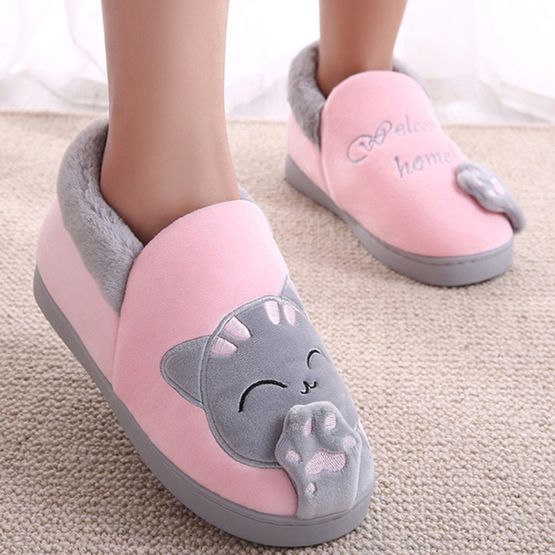 Women Winter Warm Home Slipper Home Shoes Female Cat Animal Slip On Soft Indoor Flats Cover