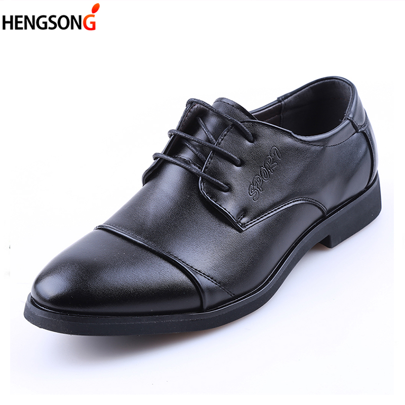 2018 New Fashion Soft Leather Dress Shoes For Men Causal Flats Mens Oxford Shoes Low Top Oxfords Men Business Shoes Black
