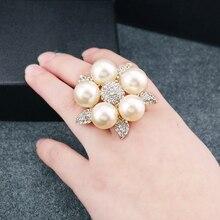 Жемчуга, преувеличены имитация cz алмаз жемчуг цветочные партии кольца кольцо украшения