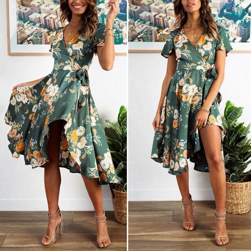 Elegant Floral Print V Neck Wrap Satin Dress 1