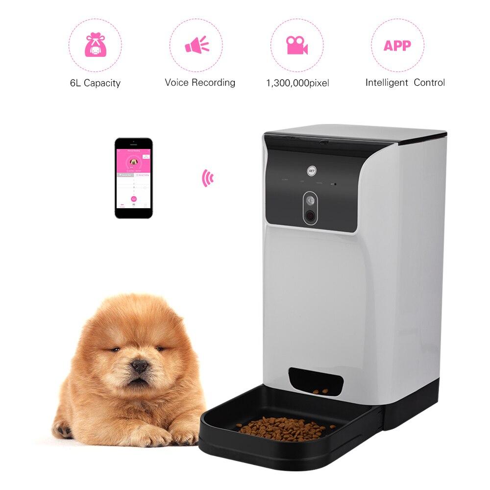 APP Alimentatore Automatico Pet Cat/Dog Food Dispenser 6L Storage con Voice Recorder Macchina Fotografica di Wifi Connessione Compatibile Per IOS Android