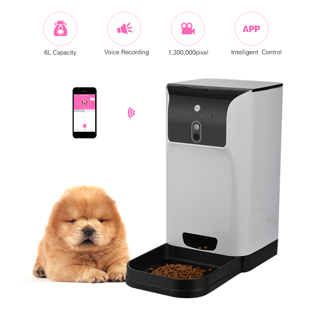 APP Automatic Pet Feeder Cat Dog Food Dispenser 6L Storage with Camera Voice Recorder Wifi Connection