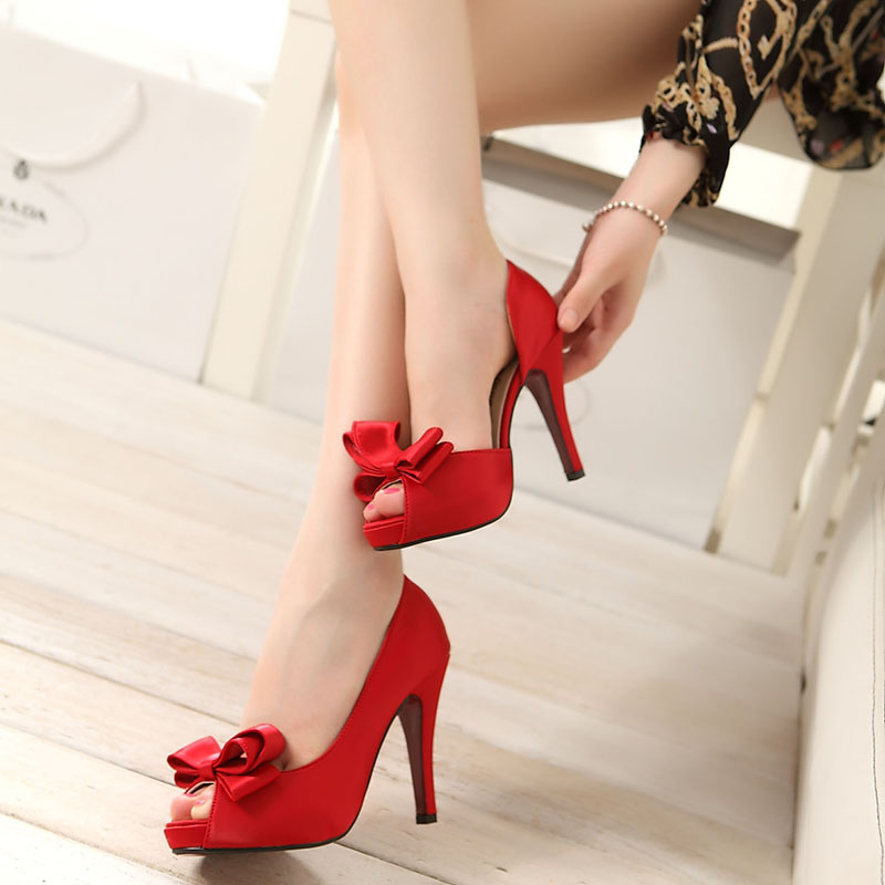 Online Shop New Arrival Ladies Shoes Wedding Bridal Peep Toe Bow High Heels Princess Party Sexy Red Women Handmade Girls