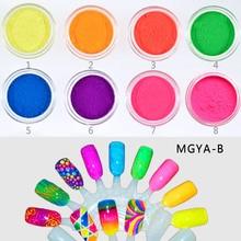 Bright! 8 jars/set Neon Pigment Fluorescence Effect Gradient Nail Powder Pigments Dust DIY UV Gel Decorations