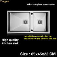 Tangwu Deluxe Big Kitchen Sink Manual Double Groove 4MM Thick Food Grade 304 Stainless Steel Button
