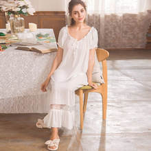 Simplicity Tatting Cotton Women Nightwear Bubbles Short Sleeve Palace Princess Nightgown Sleeping Dress Vintage White Nightdress