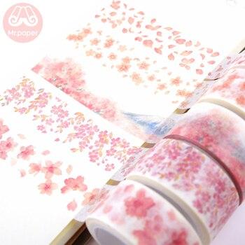 Mr Paper 8 diseños 20mm * 7m Rosa Sakura flor de cerezo bala diario cintas Washi Scrapbooking DIY decoración cinta adhesiva