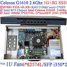 rack mounted server Firewall 1U with 6*1000M 82574L Gigabit Nic 2* intel i350 SFP ports Intel Celeron G1610 2.6Ghz 1G RAM 8G SSD