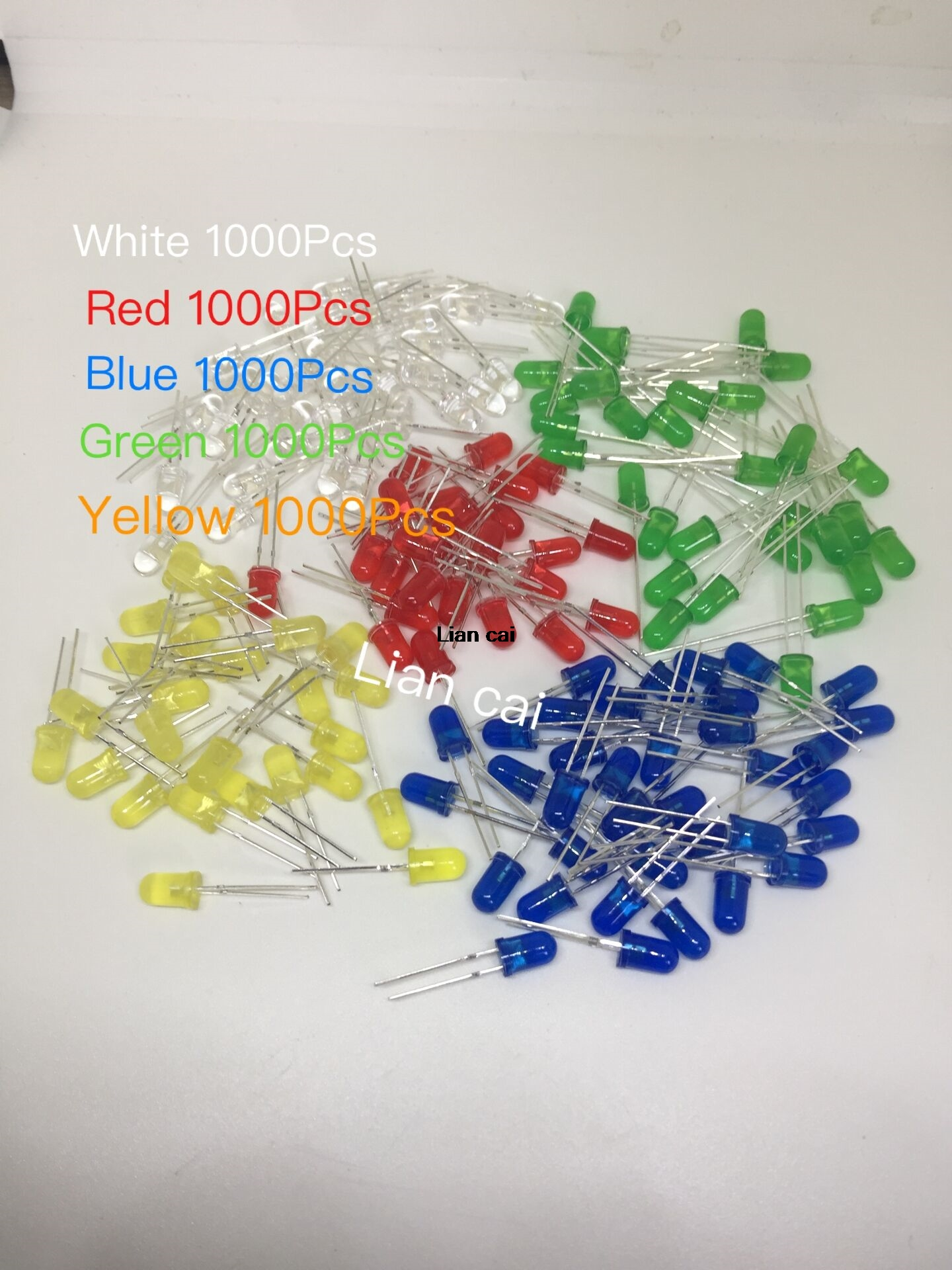 5000pcs lot 5 Colors F5 5MM Round Yellow White Red Green Blue Each 1000pcs Diffused Round