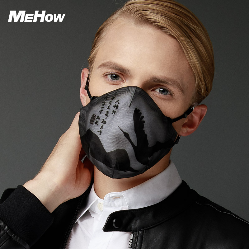 MeHow Silicone Rubber Mouth Mask Classic Black Nightingale pattern PM2.5 Anti Haze Dust Mask Nose Filter Halloween Mouth-muffle adult pm2 5 dust mask anti haze cotton masks mouth muffle with exhale valve filter