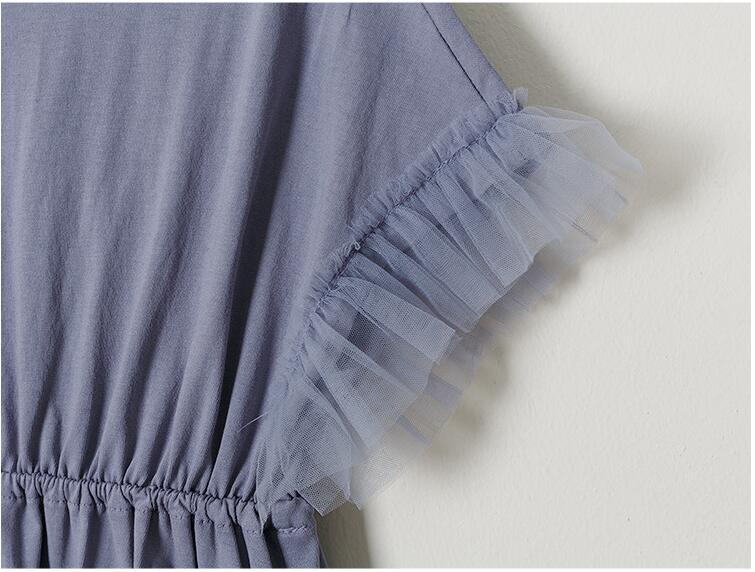 Teenager girls delicate simply styles mermaid tail dress children kids bat-wing sleeve summer ruffles splicing cotton dress 6