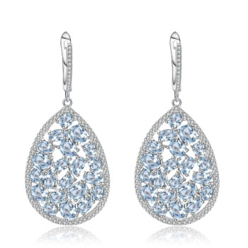 GEM'S BALLET 925 Sterling Silver Earrings 13.49Ct Natural Sky Blue Topaz Pear Shap Drop Earrings Fine Jewelry For Women Wedding