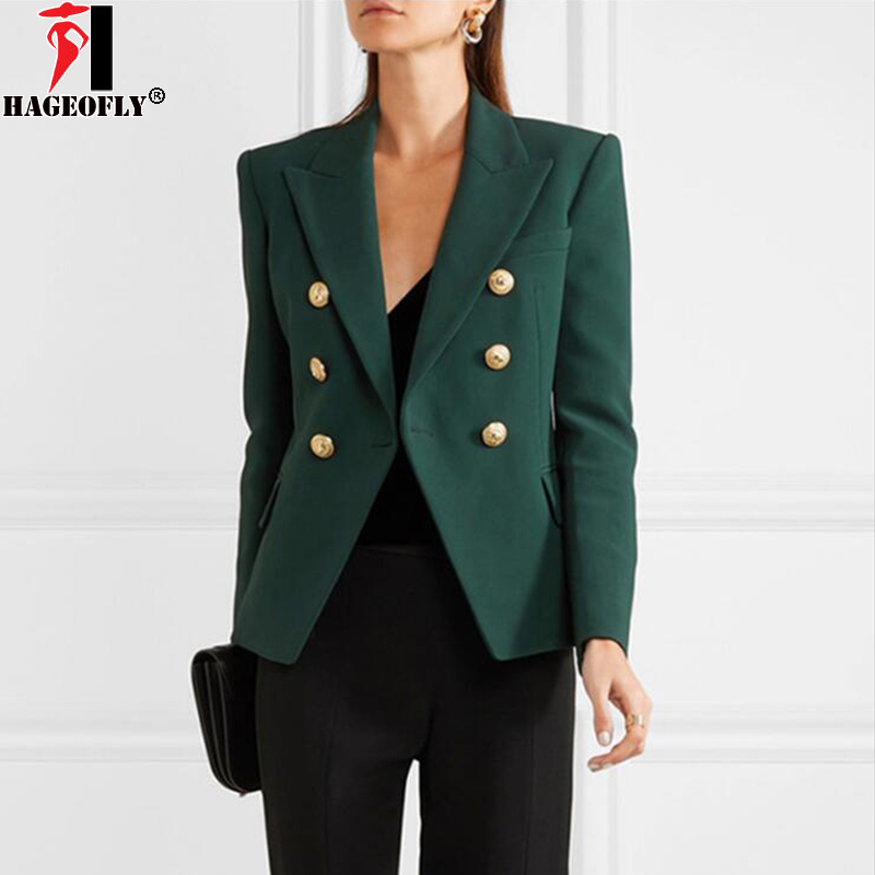 HAGEOFLY Spring Autumn Green Blazer Women Office Slim Formal Jacket Coat Casual Double Breasted Lion Metal
