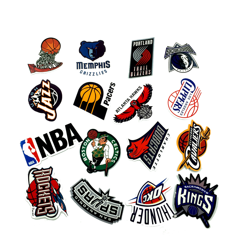 The New 32 Pcs/Lot NBA Club Logo Stickers Waterproof Sticker For Car Laptop Trunk Skateboard Guitar Bicycle Decal Car-Styling