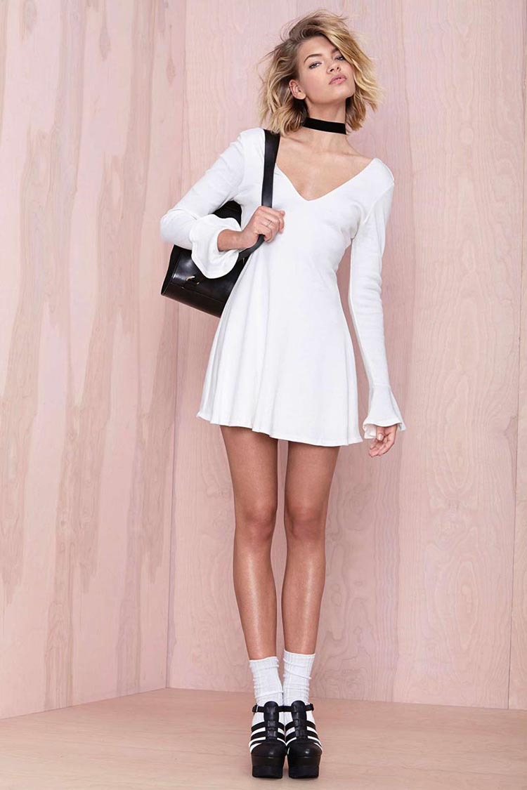Vestidos nueva moda Casual vestido blanco de cuello V manga larga de ...