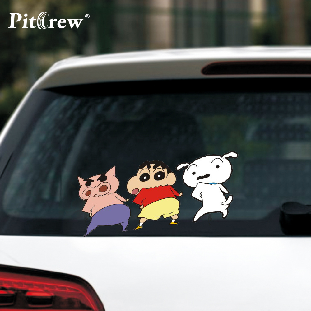 Us 2 29 20 Off 1pc 18 7 7 7cm Cute Crayon Shin Chan Kids Anime Cartoon Car Styling Motorcycle Car Stickers And Decals Exterior Accessories In Car