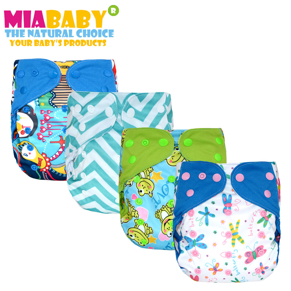 Miababy(5pcs/lot) OS Cloth Diaper Cover For Baby,with Or Without Bamboo Insert,fit 5-15kg Baby