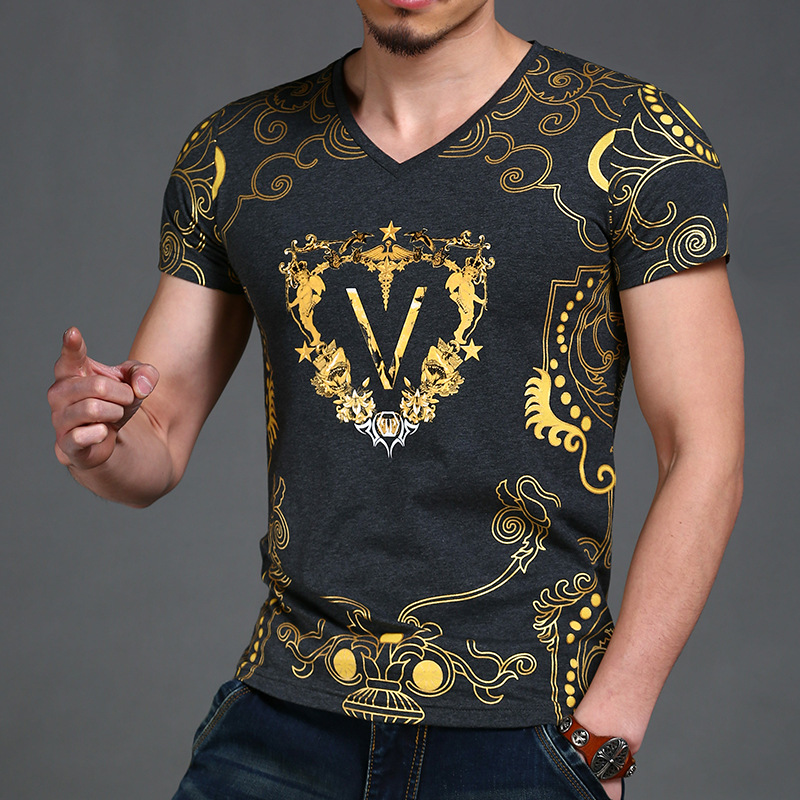 Fashion Luxury new casual cotton t shirt men brand 2016 fitness short sleeve printed male tshirt tops tees Men's Clothing
