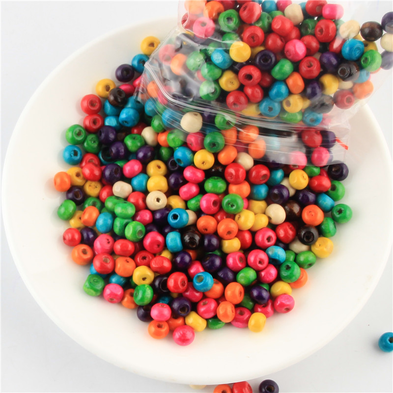 CHOOSE OF DESIGN 100PCS MULTI-COLORED WOODEN BEADS FOR JEWELLERY MAKING