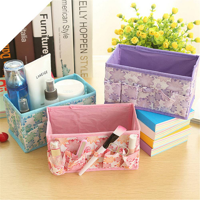 Cosmetic Makeup Storage Box Folding Desktop Jewelry Organizer 4 Colors Random Delivery