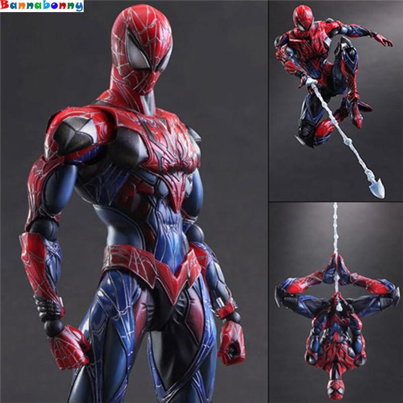 все цены на Spiderman Action Figure Play Arts Spider-Man PVC Figure 27cm PLAY ARTS Spider Man Peter Benjamin Parker Model with color box