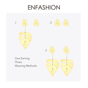 Image 4 - ENFASHION Hollow Monstera liść spadek kolczyki dla kobiet Bling czeski dynda kolczyki moda komunikat biżuteria wakacje EB191061
