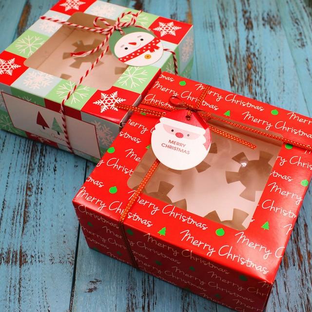 16*16*8 centímetros Adorável Papai Noel Bombom Caixa de Presente Fontes Do Partido Feliz Presente de Natal Caixa de Doces Decoração vara Presentes Para As Crianças