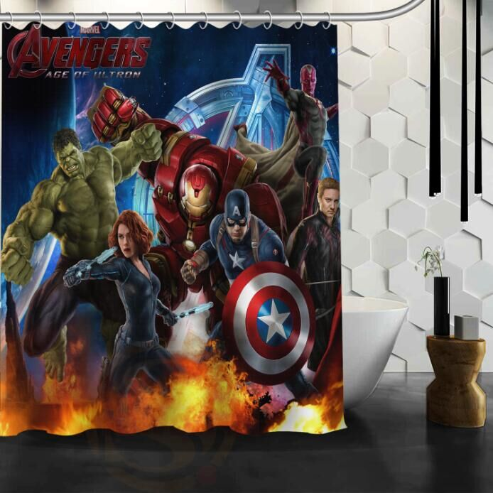 Custom Marvel Comic American Movie Superhero the Avengers Waterproof Polyester Fabric Bathroom Shower Curtain 66x72 60x72 48x72