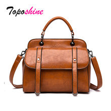 Toposhine Brand Women Handbag Luxury Oil Wax Leather Ladies Crossbody Bag Bags High Capacity Shoulder Messenger