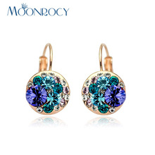MOONROCY Drop Shipping Jewelry Wholesale Cubic Zirconia Purple Blue Austrian Crystal Rose Gold Color