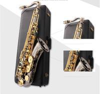 Пользовательские тенор Саксофоны инструмент новый бемоль тенор SAX ветер/трубка черный Никель золотой ключ Саксофоны
