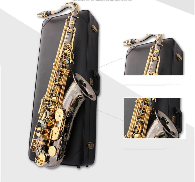 Custom Tenor Saxophone Instrument New B Flat Tenor Sax Wind / Tube Black Nickel Gold Key Saxophone high grade tenor saxophone instrumentnew 802 model b tenor sax instruments wind tube black nickel gold key saxophone