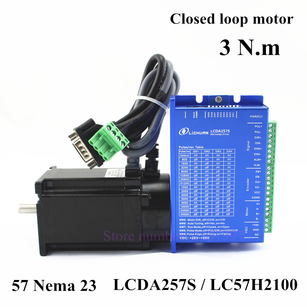 Hybrid Servo Nema 23 closed loop stepper motor kit 2 phase 3.0N.m 57 motor LC57H2100 with encoder + Simple Servo Driver LCDA257S 8 replacement spare parts blender juicer parts 4 rubber gear 4 plastic gear base for magic bullet 250w 38